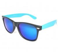 Wayfarer-Party-Matzwart-Blauw-zonnebril-met-blauwe-UV-protectie-spiegelglazen-matzwart-montuur-blauwe-brilpootjes-linkeraanzicht